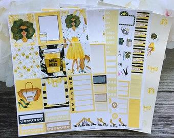 Planner Stickers / African American Girl Boss  / Weekly Kit / Erin Condren Vertical Kit