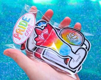 Rainbow (PRIDE) café glossy sticker pack of 8