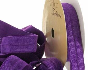 "5/8"" Fold Over Elastic (FOE) Ribbon 465 Purple 3yd"