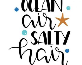 Ocean Air Salty Hair Vinyl Decal