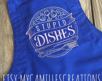 Stupid Dishes Apron with Bow