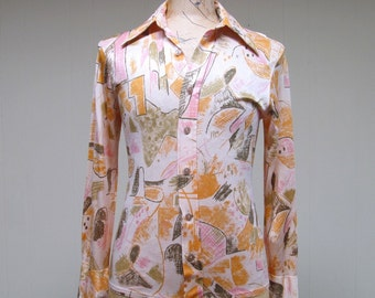 Vintage 1970s Shirt / 70s Mens Abstract Art Print Disco Shirt / Extra Small