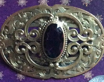 Gorgeous Large Victorian Faux Amethyst Sash Pin or Brooch C Clasp