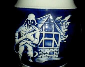 Vintage German Beer Stein~Gerz Beer Stein~Firefighters~Stein for Firefighter~Collectible Beer Stein~