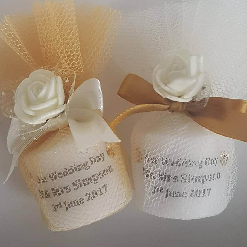 Personalised Wedding Candle Favours Wrapped In Tulle Gold Silver