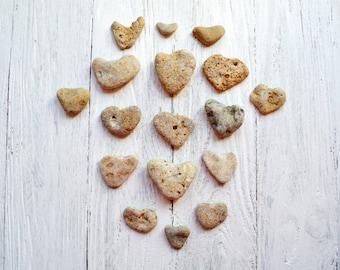 17 Heart Pebbles Valentines day gift Natural Heart stones Heart Shaped Sea Rock Valentines day decor Rustic Romantic Decor Beach pebbles