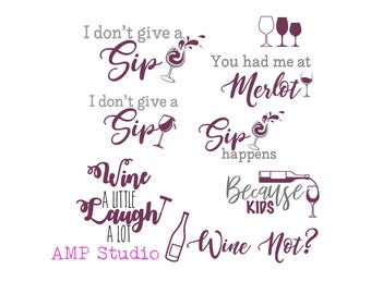 fun wine bundle SVG DXF, cut file, cameo, Cricut, 10 awesome cut files, perfect for wine glasses, t shirts, decals, cups, and much more vino