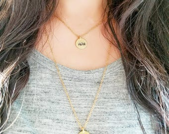 Initial Necklace, Initial Necklace Gold, Gold Necklace, Layering Necklace, Dainty Gold Necklace, Custom Stamped Jewelry, Dainty Necklace,