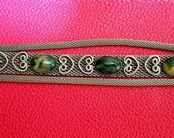 chain link bracelet with green opal gemstones