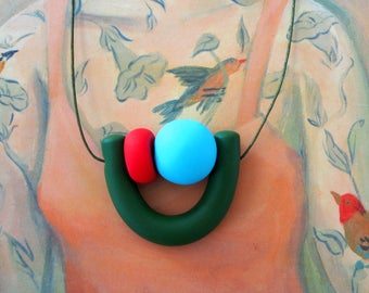 Handmade Polymer Clay Necklace - El Salvador Collection - Two Bead U