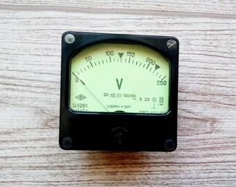 Functional Voltmeter USSR Industrial voltmeter Steampunk decor Tested and Functional Vintage AC Voltage Meter Panel voltmeter 0 to 250 Volts