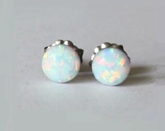 6mm Fiery Opal Stud earrings, White opal earrings, hypoallergenic Titanium post earrings, opal studs, Bridesmaid earrings, birthstone gift