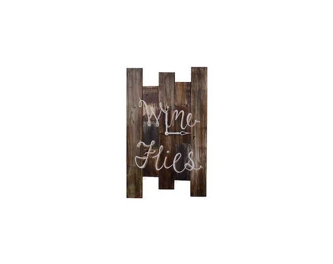 Wine Flies Wall Clock, Small Wall Clock, Custom Wall Clock, Home Bar Decor, Repurposed Wall Clock, Rustic Wall Clock, Shiplap Wall Clock