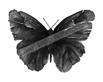 black butterfly watercolor archival print