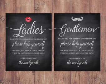 Wedding bathroom basket signs - womens and mens hospitality basket - his  and hers bathroom signs