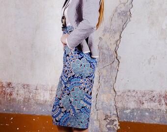 Geometric Pattern Floral Skirt