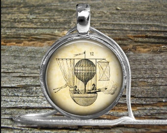 Hot Air Balloon Necklace-Pendant-Vintage image-Two Men with Canon-Engineer