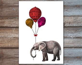 Elephant with balloons, elephant nursery decor, childrens room art print