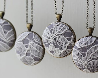 Set of 4 Bridesmaid Necklaces, Gray Bridesmaid Gift, Gray Wedding Jewelry Unique Bridal Shower Favors, Lace Wedding Jewelry