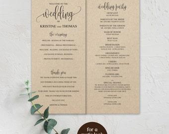 DIY Wedding Programs, Wedding Program Template, Wedding Program, Printable Program, Wedding Programs, Editable Program, Printable, BD-6022