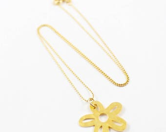Gold filled chain with flower charm