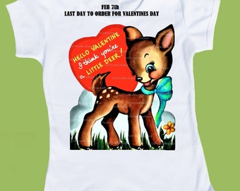 Valentine Deer, Woodland Deer, Baby one, piece bodysuit, baby shower gift, Ladies Deer shirt, Tank or Tee by ChiTownBoutique.etsy