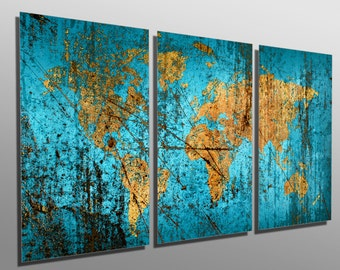 Abstract world map etsy metal prints abstract munsell blue world map 3 panel split triptych metal wall art on hd aluminum prints for decor interior design gumiabroncs Images