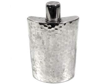 Hip Flask with Shot Glass Cap, Vintage Whiskey Flask Made in West Germany, 10 Ounce Size, Hammered Steel Silver Liquor Flask