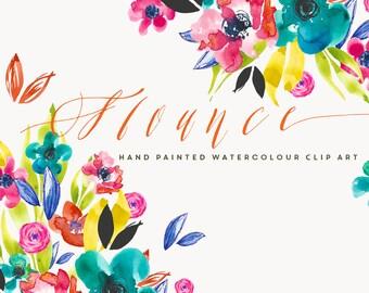 Watercolour Flower Clip Art - Flounce