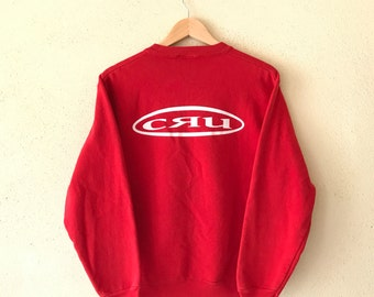 Rare! Vintage CRU DESIGN Sweatshirt Big Logo At Back Small Logo Front Pullover Jumper Hip Hop Swag Red Colour small size