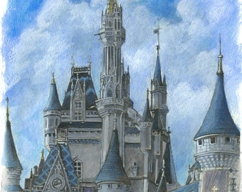 "Inkjet Print (High Quality) - Cinderella Castle - ""Happiest Place"""