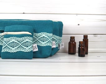 Essential Oil Case Set, Essential Oil Bag Set - ZOE in Deep Lake - linen and lace cosmetic bag zipper pouch oils oil storage