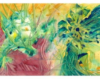 Abstract; Floral inspired watercolor on 140lb cold press paper