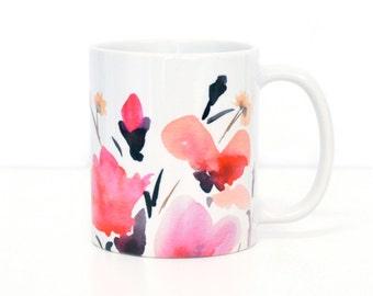 Pink Flowers Coffee MUG, 11oz and 15oz ceramic mug, coffee mug, tea mug, pink floral mug, birthday gift idea, bridesmaid gift idea