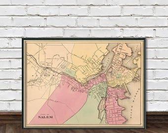 Map of Salem ( Massachusetts ) - Salem map restored - Fine reproduction
