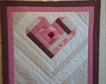 Log Cabin Heart Mini Quilt
