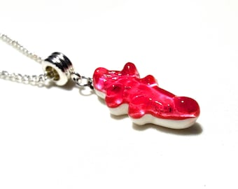 Pink Gummy LEXFIMO crocodile pendant fuchsia - stainless steel chain