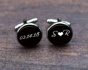Cuff Links, Initial Cufflinks, Custom Monogrammed Wedding Groom Cufflinks, date and name cufflinks, Mens accessories, gift for him