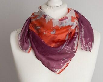 """vintage Square scarf, retro scarf, daisies silk scarf, fabric women scarf shawl 70cm / 27"""" floral scarf, orange purple"""