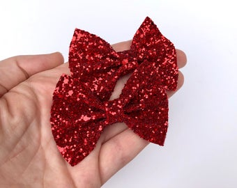 Red Chunky Glitter Pigtail Hair Bow Set // Piggie Bows Hair Clips // Pigtail Bows Mini Bows Baby Toddler Bow Set Valentines Day