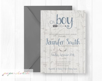 Antler and Arrows Baby Shower Invitation   Oh Boy Southern Baby Shower Boy Hunting Baby Shower Rustic Baby Shower Antler Boy Shower