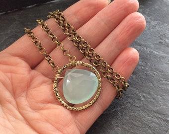 Chalcedony necklace, heart shaped gemstone necklace, elegant and feminine necklace, layering boho chic necklace, aqua blue gem necklace