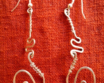Whimsical Sterling Silver Dangle Earrings With Hammered Wire Wrapping
