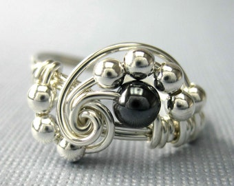 Pi -- Wire Wrapped Ring Hematite and Sterling Silver -- Math Jewelry