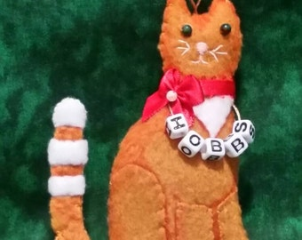 Personalized Cat/Kitty Ornament.  Approx 4 in tall. Made to Order.