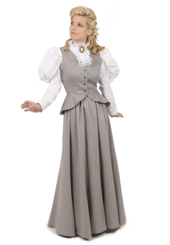 Edwardian Ladies Clothing – 1900, 1910s, Titanic Era 1890-1900 Edwardian Victorian Vest and Skirt $140.00 AT vintagedancer.com