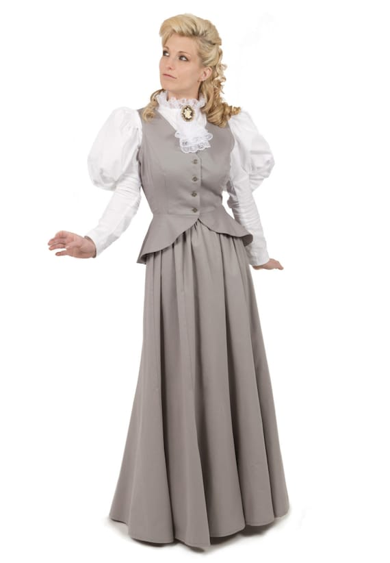 1900 Edwardian Dresses, Tea Party Dresses, White Lace Dresses 1890-1900 Edwardian Victorian Vest and Skirt $140.00 AT vintagedancer.com