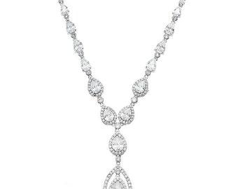 Bridal Elegant Tear Drop Y Cubic Zirconia Necklace #131641