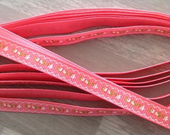 GROSGRAIN Ribbon sold by the meter pink floral flower 10mm