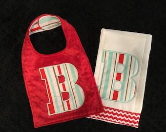 Red and Aqua Initial Burp and Bib Set/initial bib/initial burp cloth/initial burp and bib set/monogrammed bib/gender neutral gift set